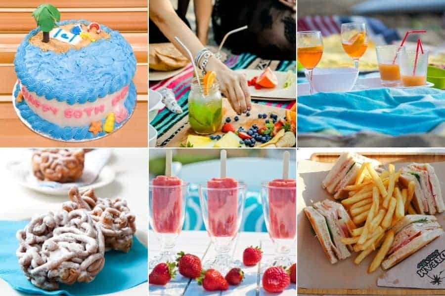 collage of summer and beach foods including ocean cake, funnel cake, popsicles, fries and cocktails