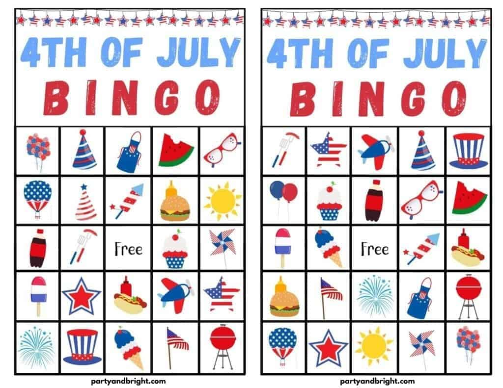 4th Of July Bingo Cards Printable And Other Patriotic Games For Kids Party Bright