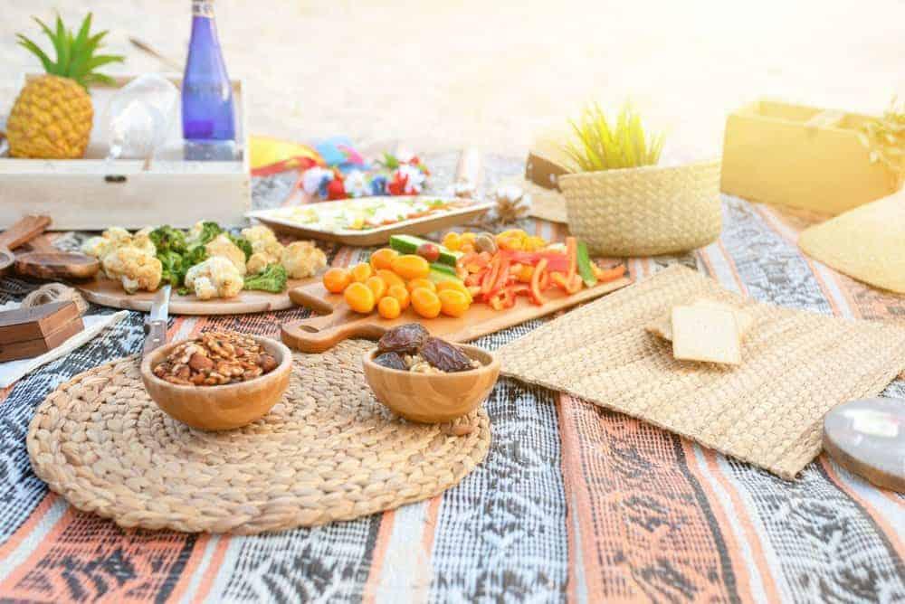zero waste food menue spread for outdoor party