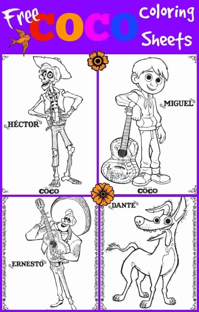 disney's coco coloring pages with characters