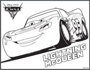 disney pixar cars coloring page of lightning mcqueen