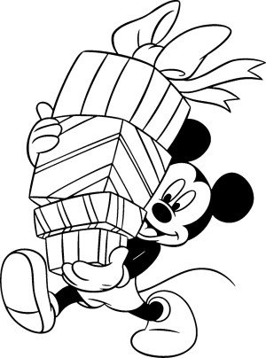 mickey mouse coloring page featuring mickey carrying a stack of presents