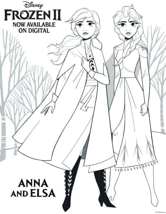 frozen 2 coloring page with elsa and anna in the forest
