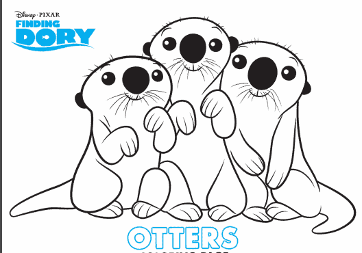 coloring page with otters from finding dory