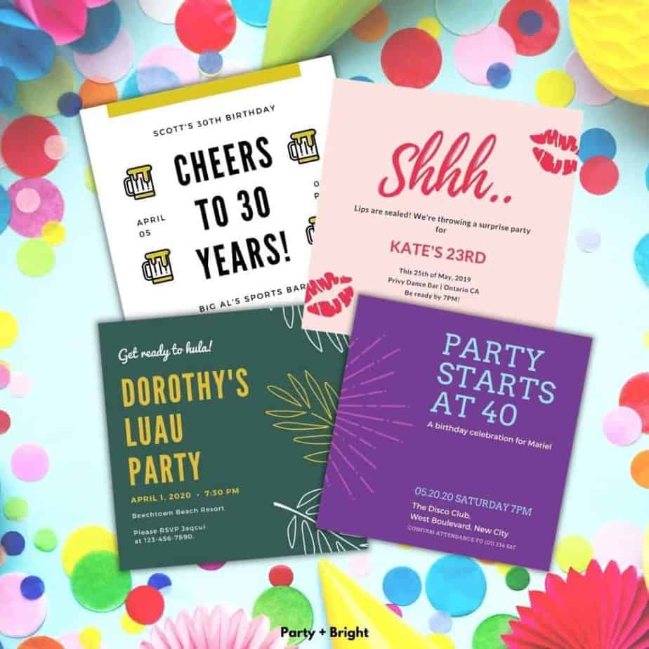 four adult birthday party invitations in a collage on a blue background with party decorations