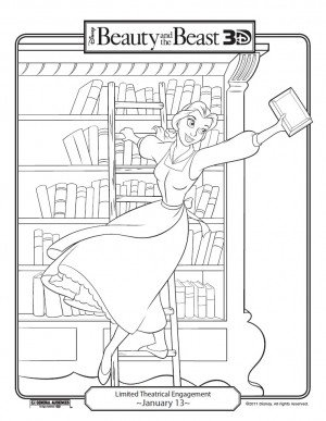 Beauty and the Beast coloring page with Belle hanging off ladder in the library holding a book