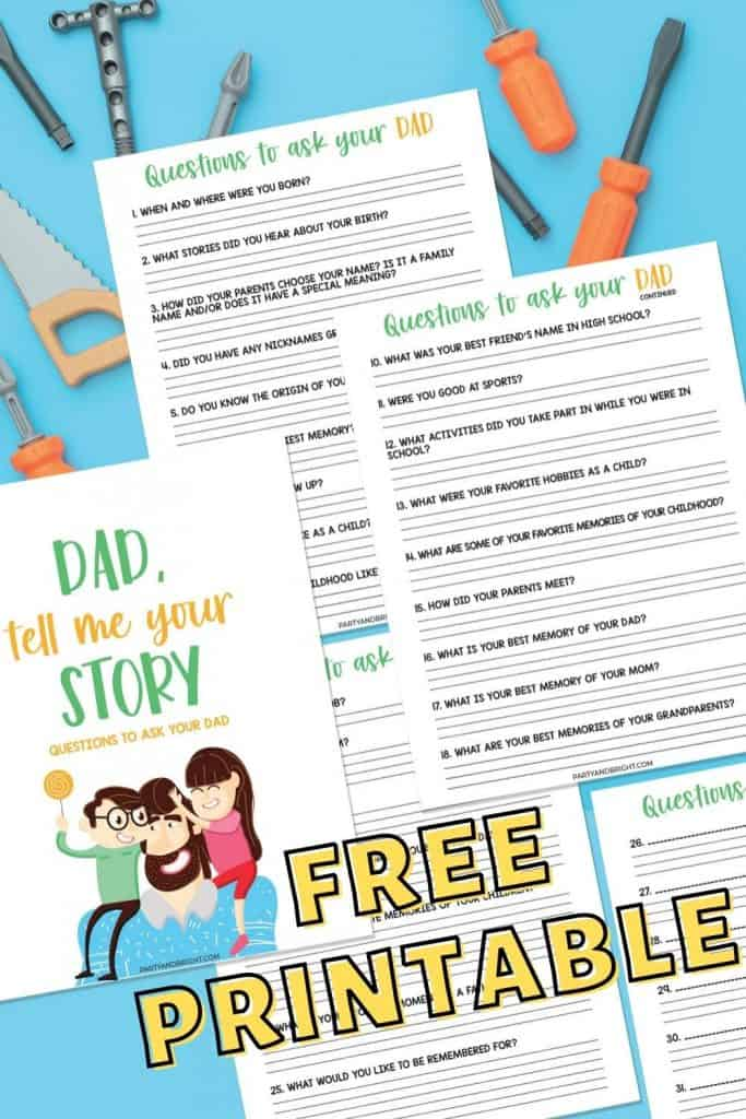 mockup of free printable questions to ask your dad with tools in the background