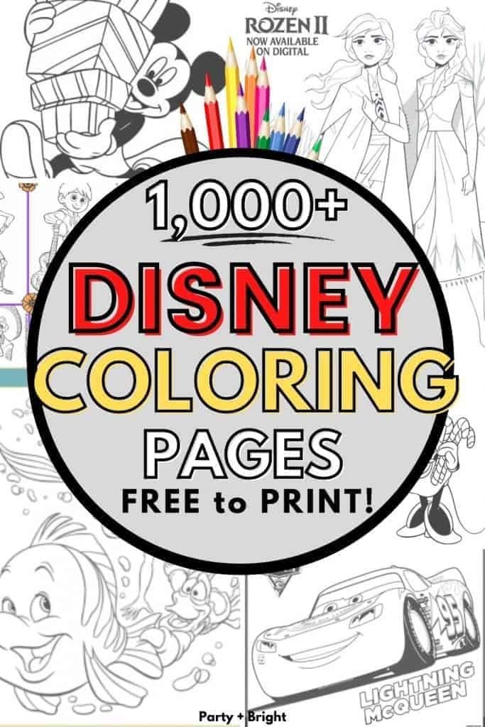 collage of disney printable pdfs with text 1000+ disney coloring pages free to print