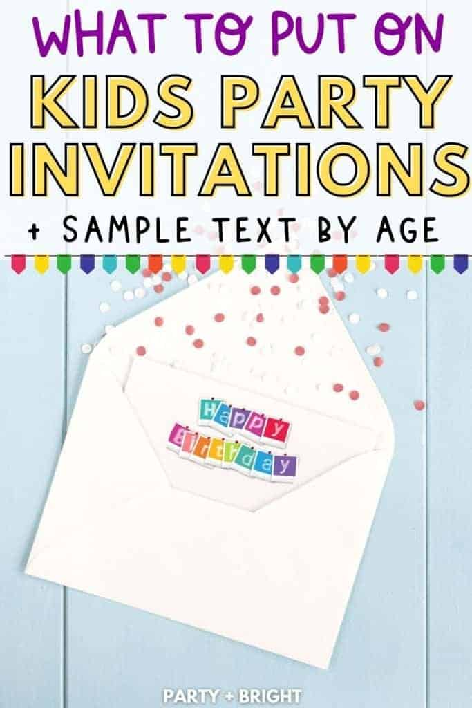 birthday invitation on a blue background with text what to put on a kids party invitation sample text by age