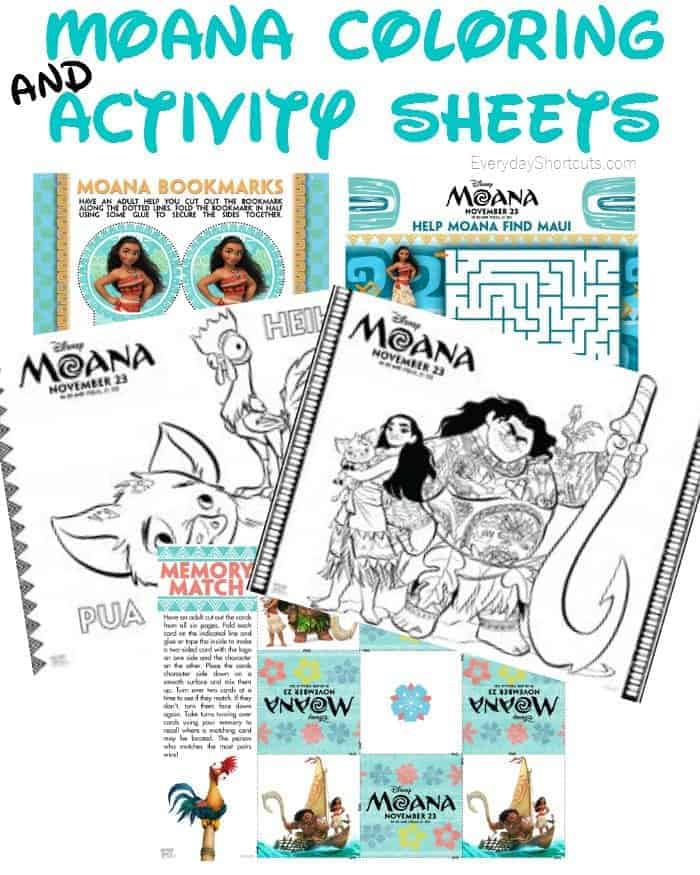Moana coloring pages with Moana, Maui, Hei Hei and Pua with other activities