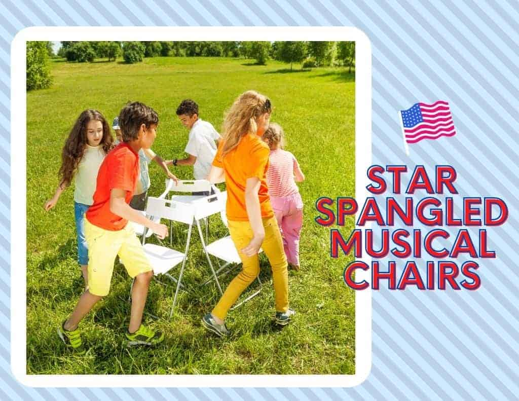 kids playing star spangled musical chairs on blue striped background