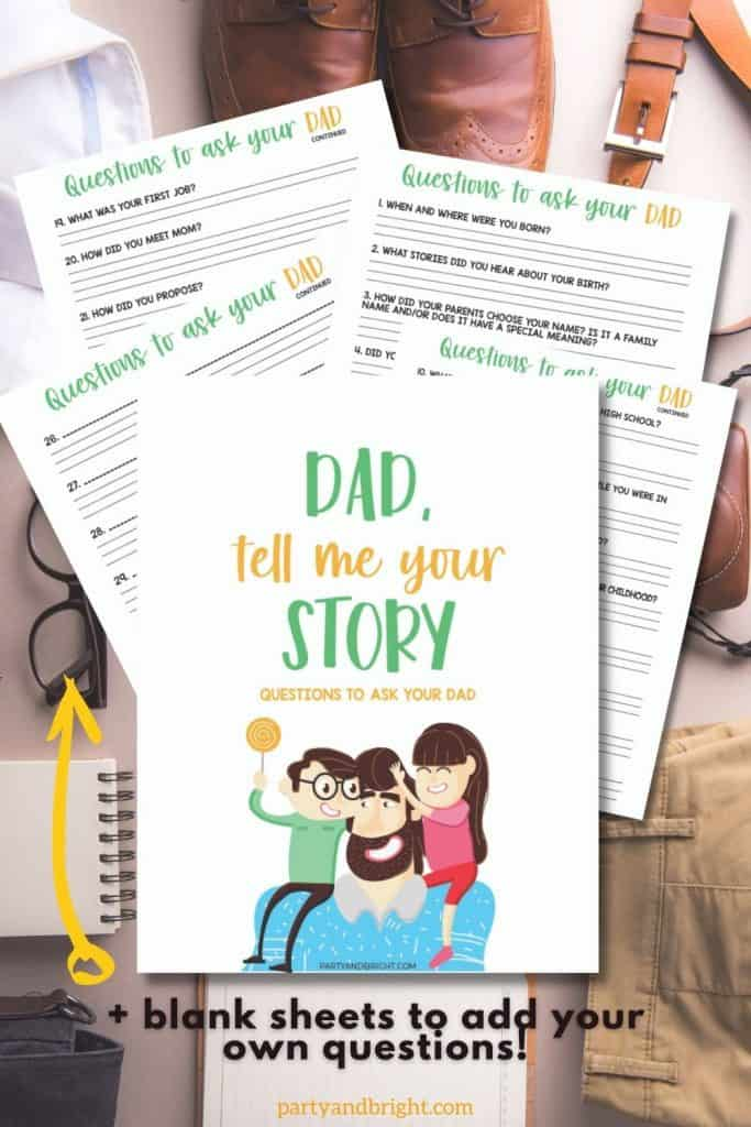 flat lay of dad clothing with mockup of printable journal of questions to ask your dad with blank sheets