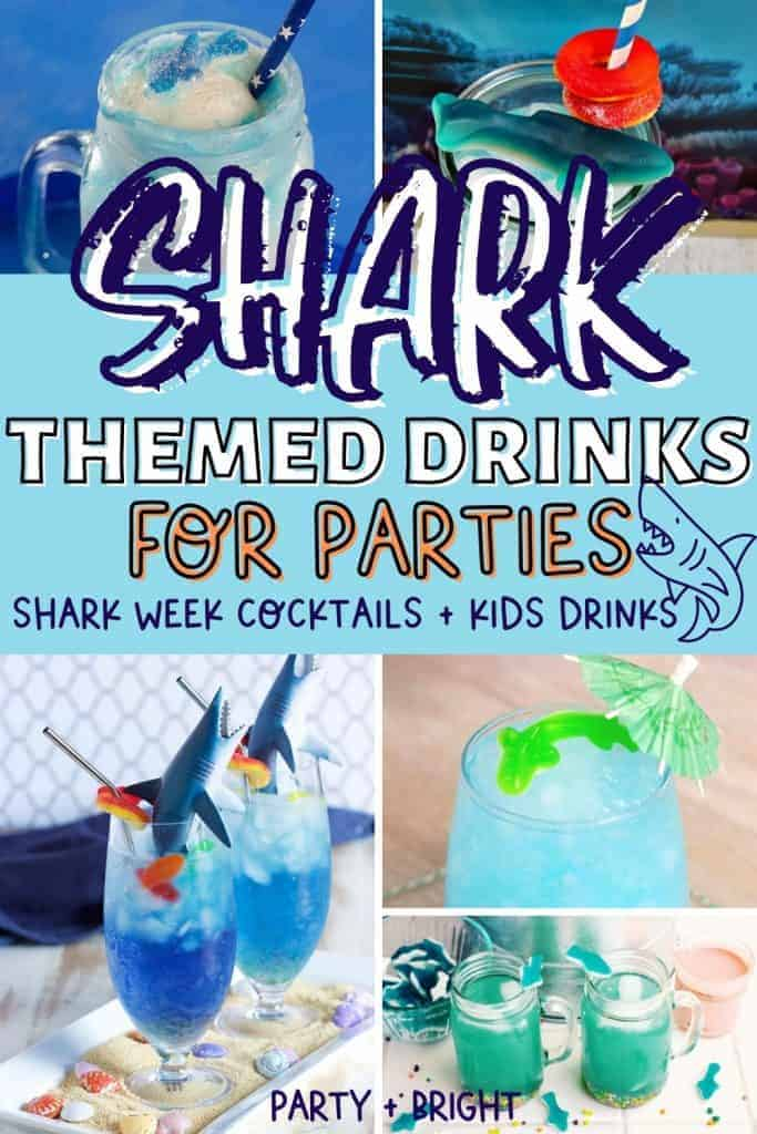 collage of shark themed drinks including shark drinks for kids, shark week themed cocktails and shark party drinks.