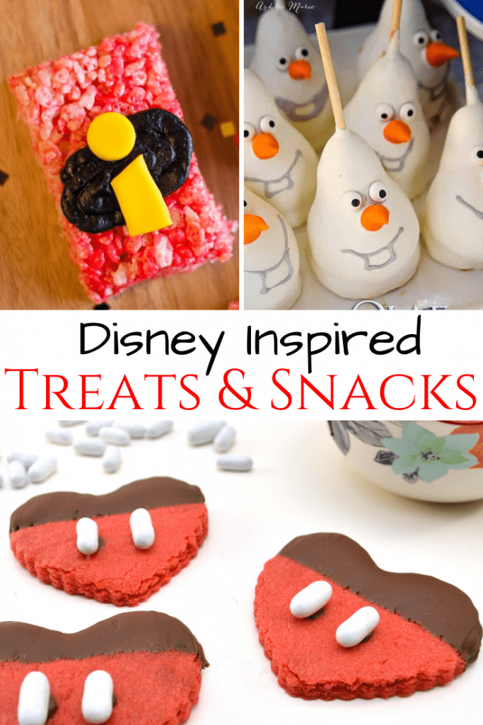 collage of disney inspired snacks and treats for disney themed parties