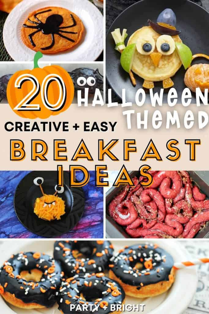 collage of breakfast ideas for halloween with text 20 halloween themed breakfast ideas
