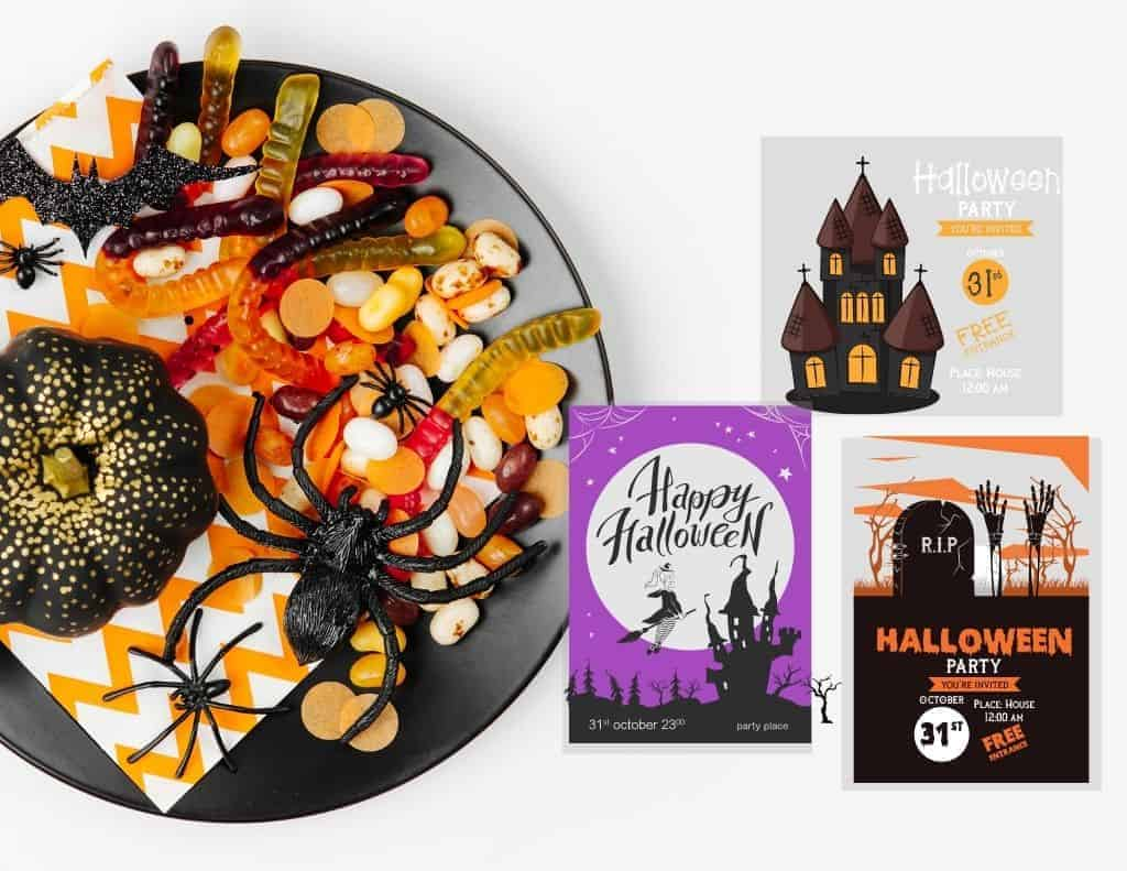 halloween invitation examples on a flat lay with halloween party bowl with treats, pumpkins and spider