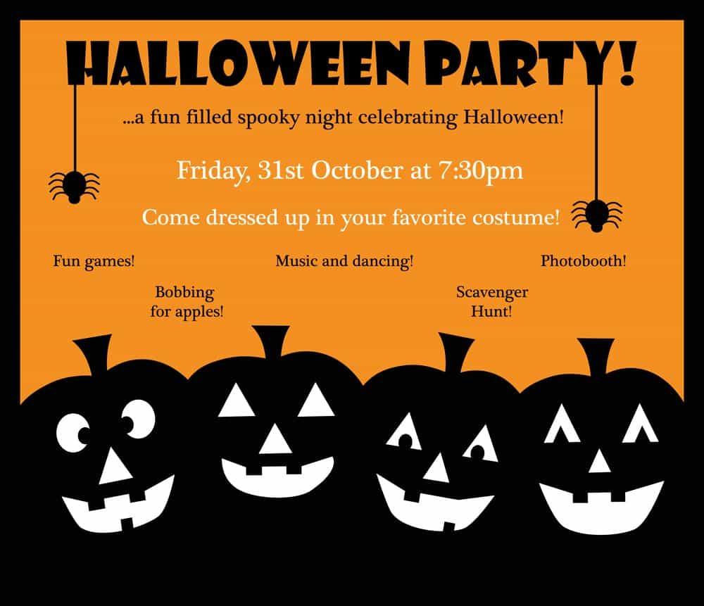 halloween invitation with black jack o lantern and orange background