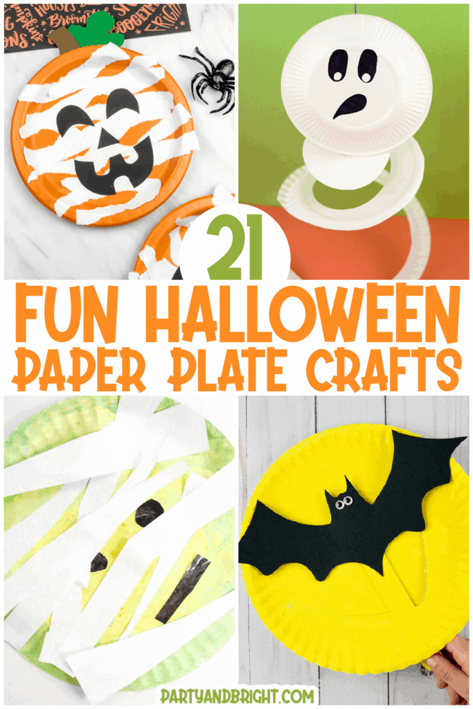collage of fun halloween paper plate crafts for kids including pumpkin, skeleton, mummy and bat in front of full moon