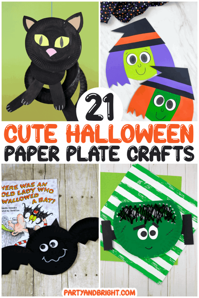 collage of halloween paper plate crafts for kids, including witch, cat, bat and frankenstein made out of paper plates