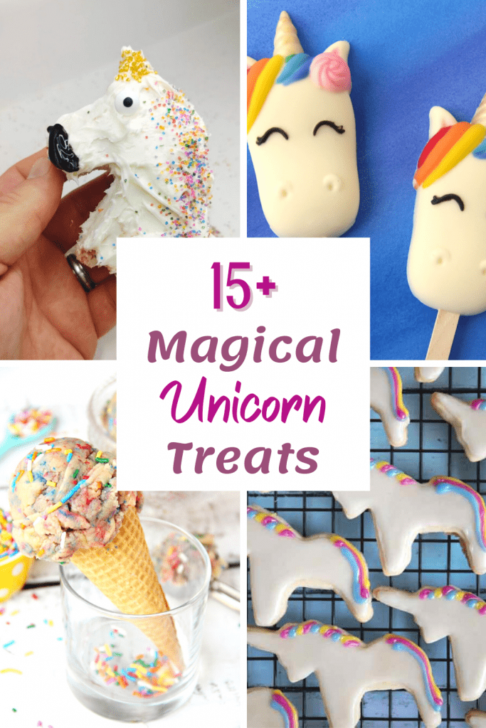 collage of 4 unicorn treats for parties including unicorn cake pops, cookies, ice cream and rice krispies in the shape of a unicorn