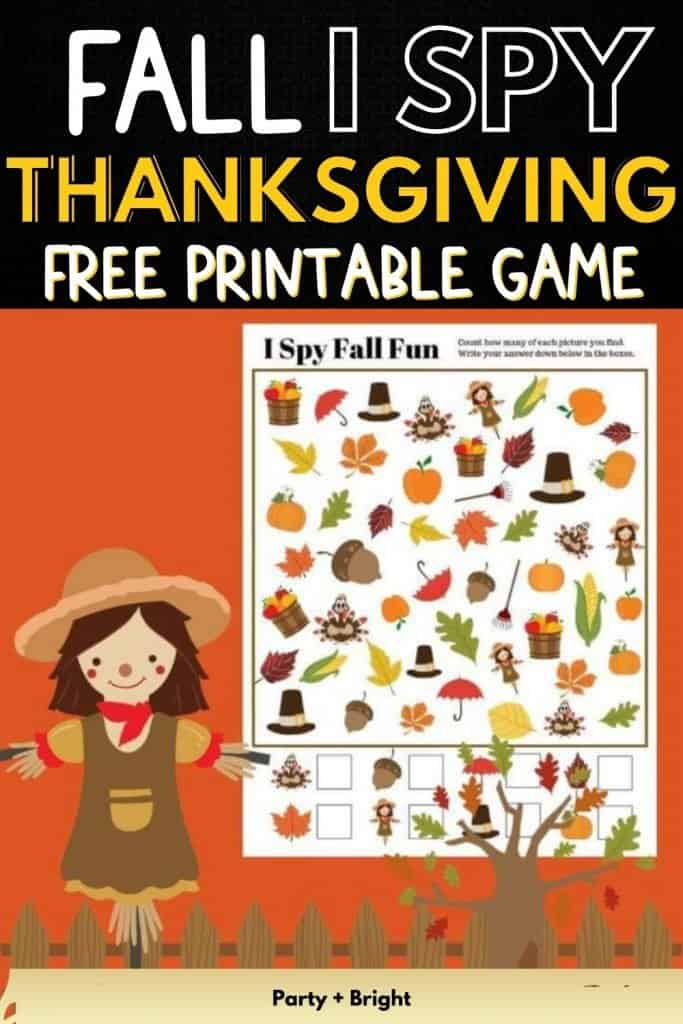 fall thanksgiving i spy printable game on a orange background with scarecrow clipart with text fall I SPY thanksgiving free printable game