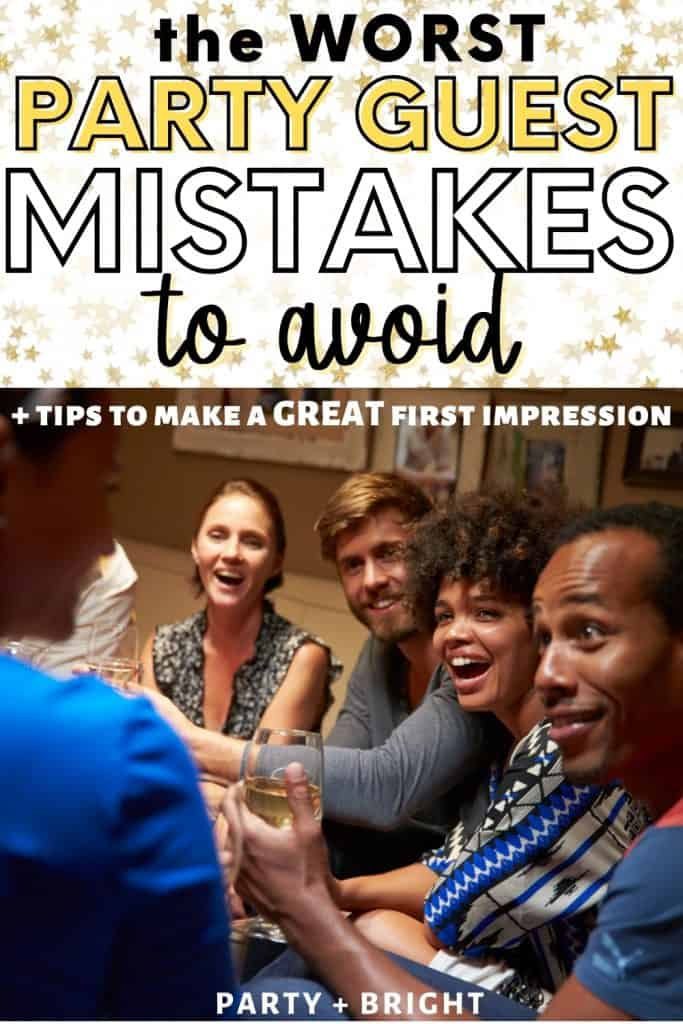 group at party looking surprised and laughing at someone off camera with text the worst party guest mistakes to avoid and tips fo make a great first impression